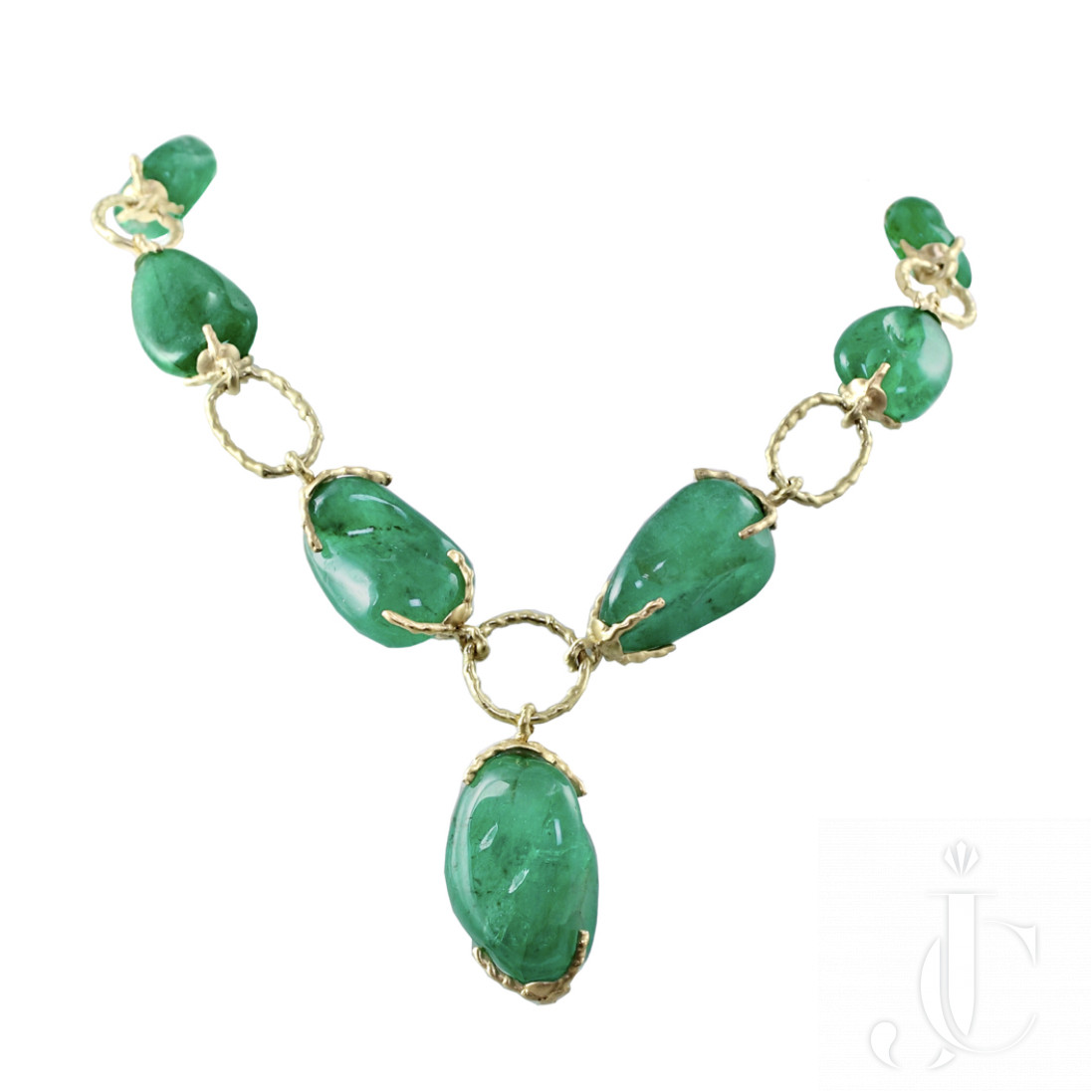 Colombian Emerald and Gold Link Necklace