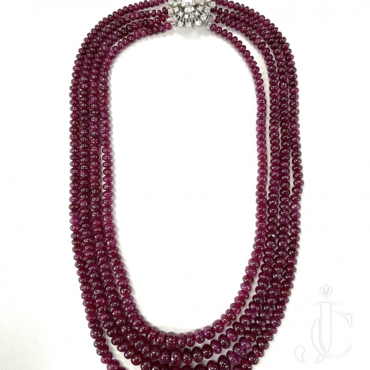 4 strands of 788 carats Burma Ruby NH beads with a Diamond clasp