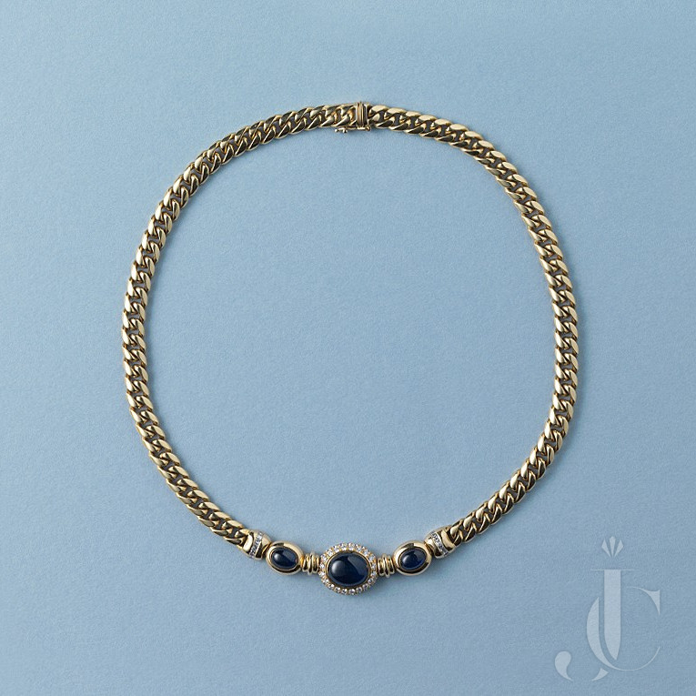 sapphire and diamond and gold curb link chain