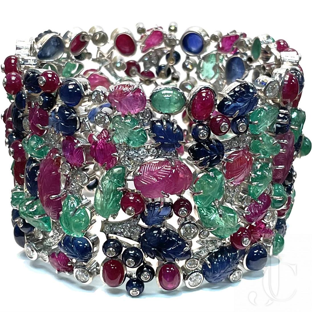 18KT. WG Tutti Frutti Cuff Bangle with very fine Emerald, Rubies, Sapphire with Diamonds