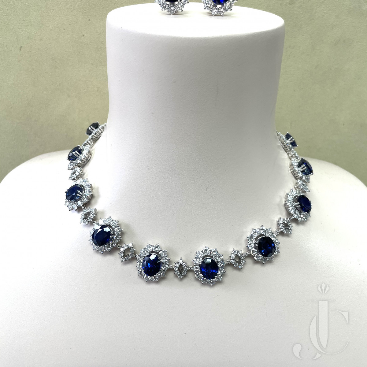 Sapphire and Diamond Necklace and Earring set in Platinum