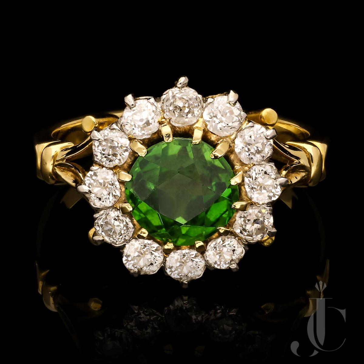 2.08ct Demantoid Garnet & diamond cluster ring