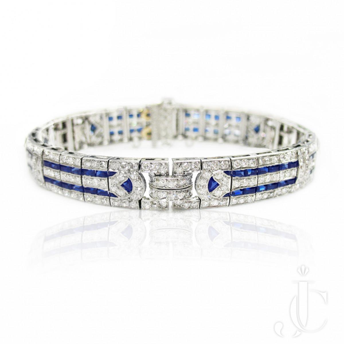 Tiffany Art Deco Platinum Sapphire and Diamond Bracelet