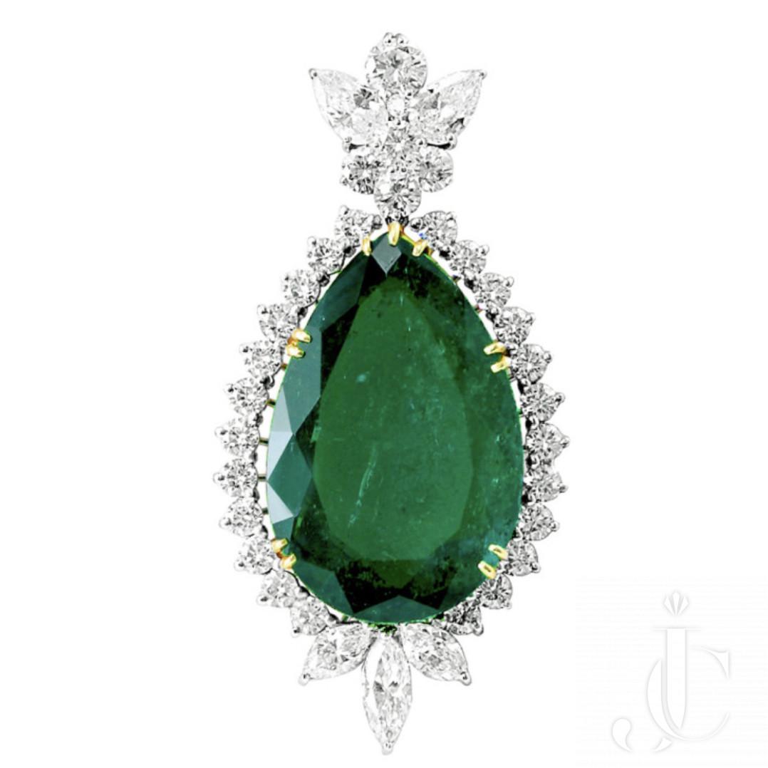 Impressive 41 Carat Colombian Emerald Diamond Pendant