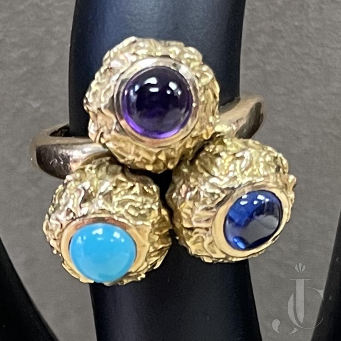 Cartier 18KT YG Sapphire, Amethyst, Turqoise ring