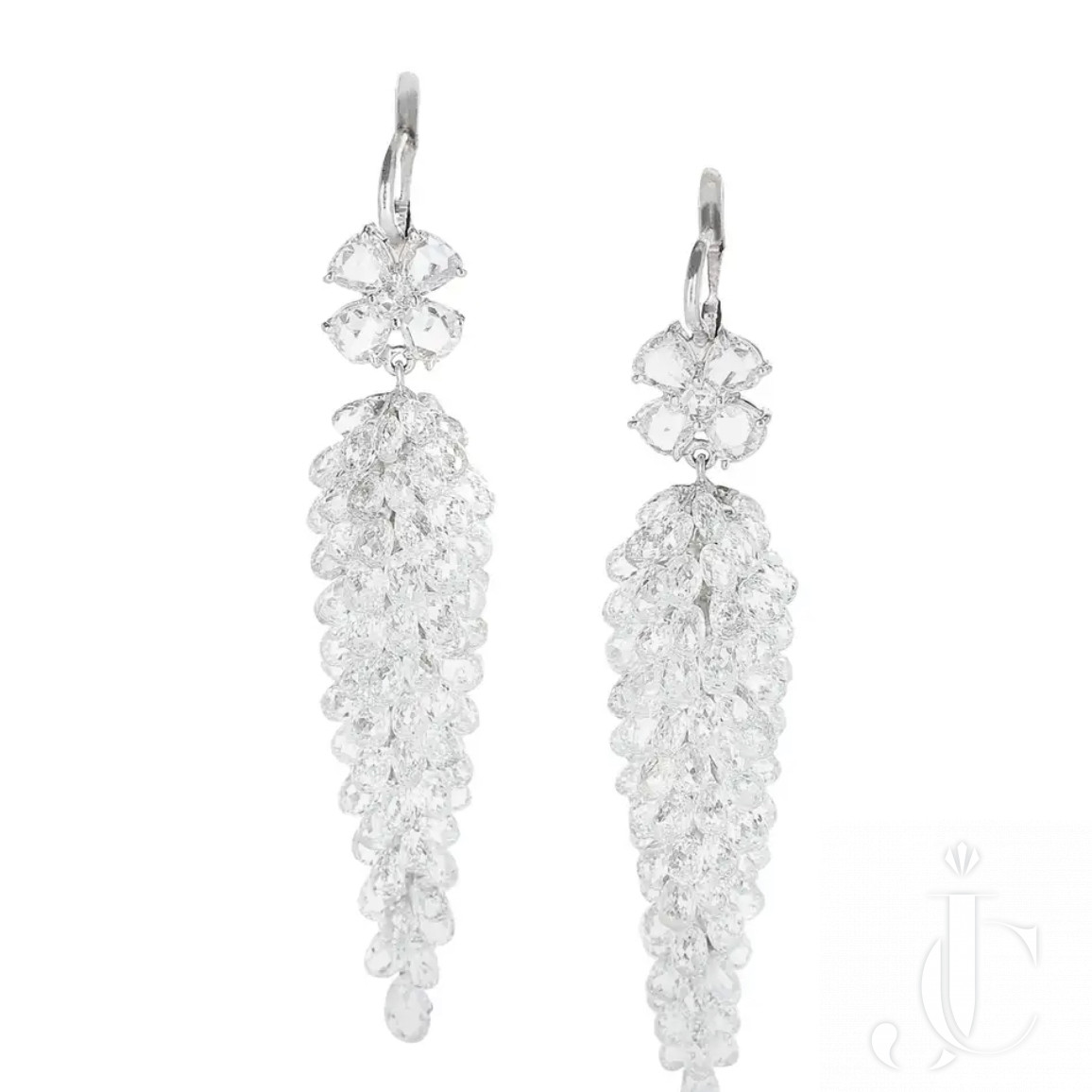 Platinum White Diamond Chandelier Briolette Earrings with rose cut Diamonds