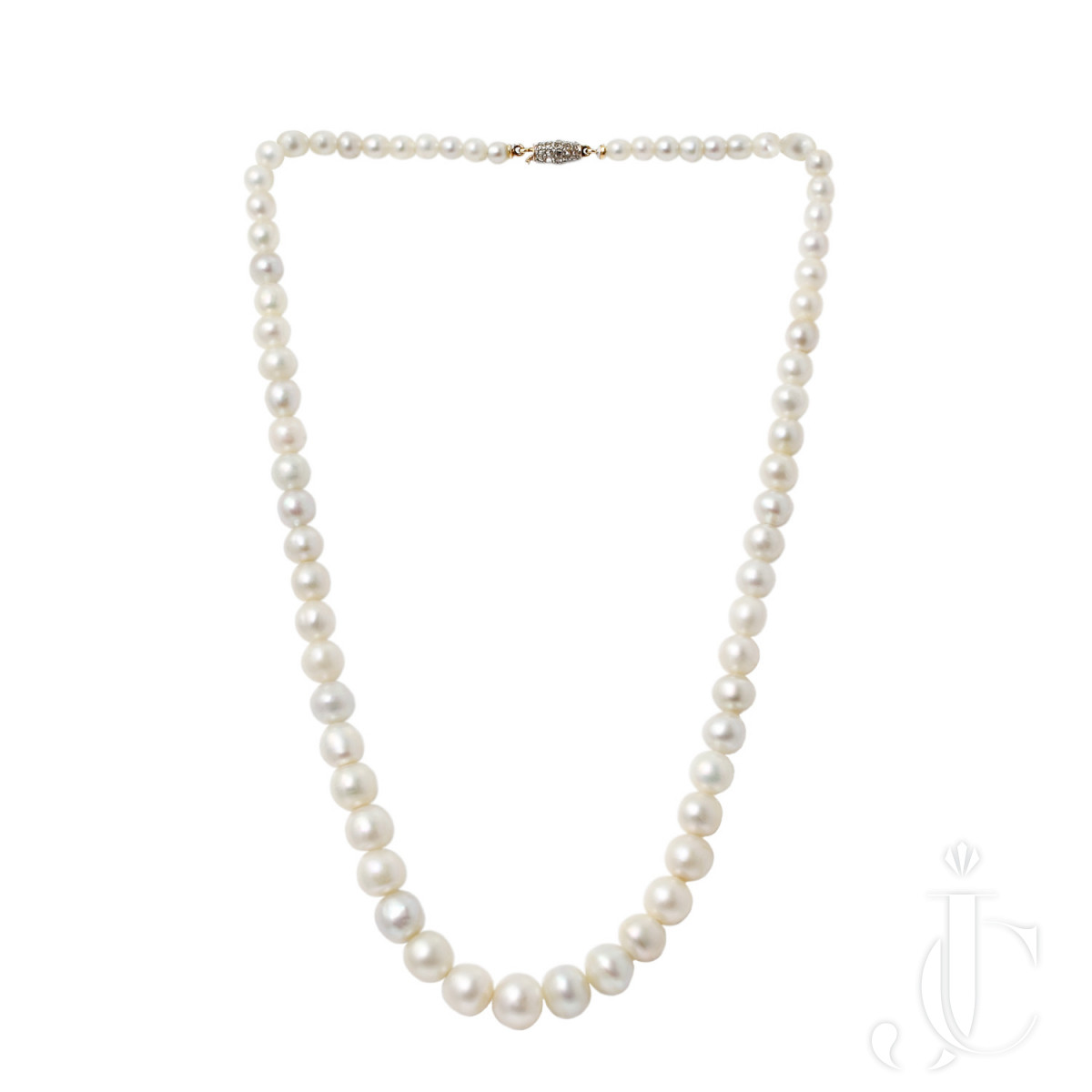 A Single Row Natural Saltwater Pearl Necklace 3.44 to 8.88 mm 105.64 carats -152.40 Chow