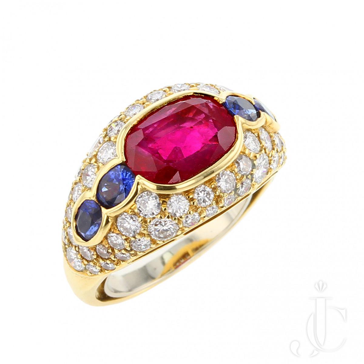 Bvlgari  3.20 carat  Burma No Heat  Ruby and Sapphire Ring