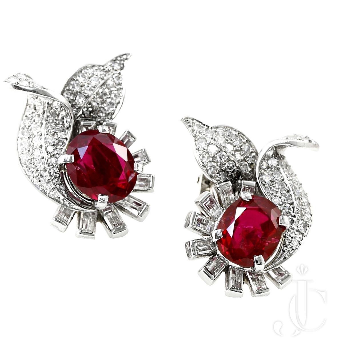 6 Carat plus  Exceptional No Heat Burma Ruby(No Heat) and Diamond Earrings