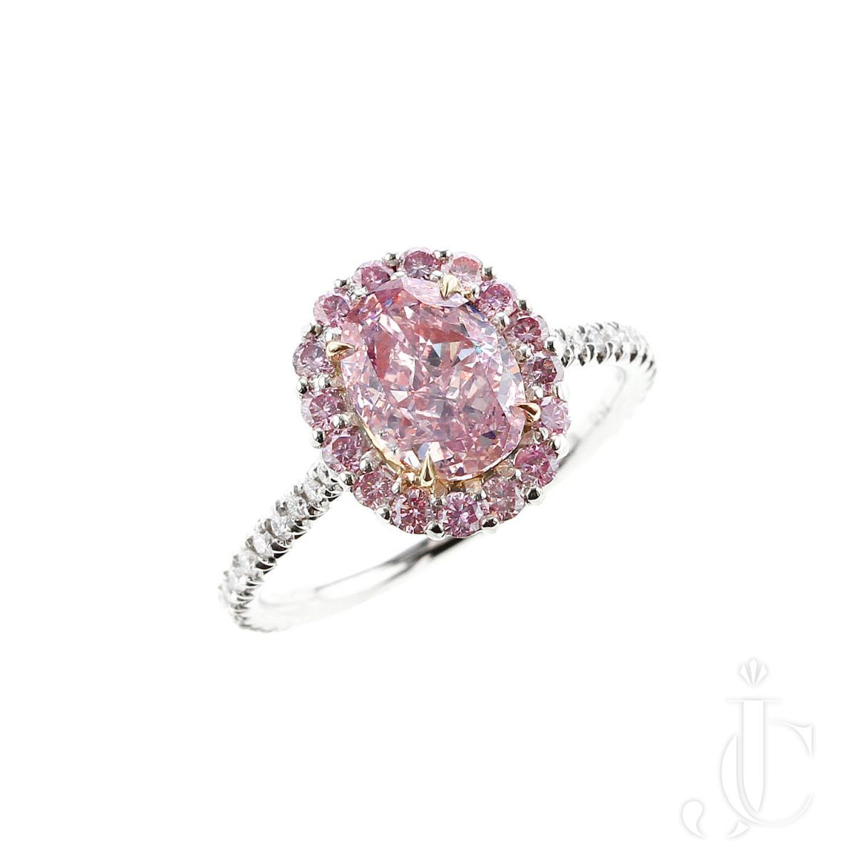GIA Certified -1.67 carat Natural 1 Carat Fancy Purplish Pink Diamond Halo Platinum Ring