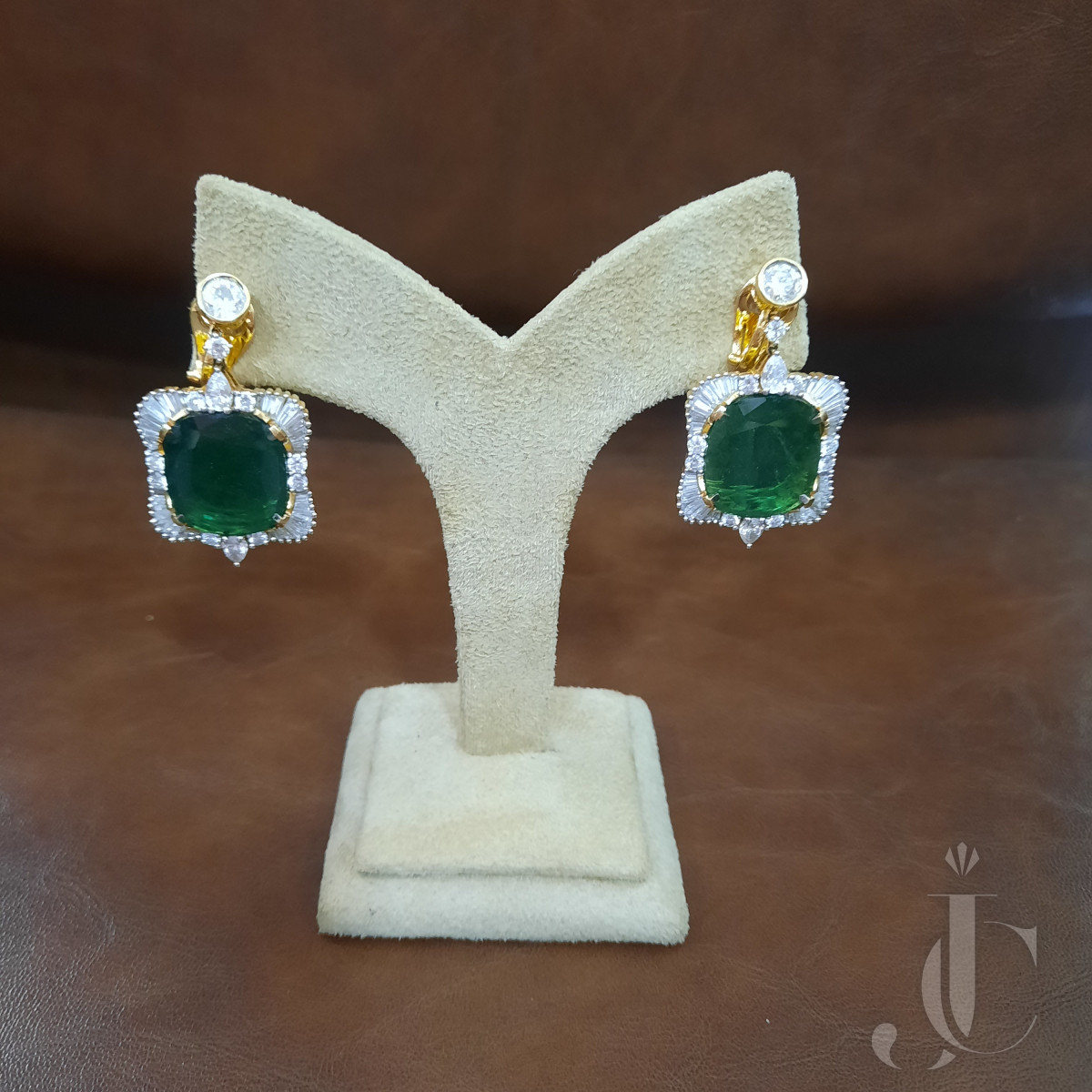 Natural Zambian Emerald Cushion Oval Pair Earings with Diamonds