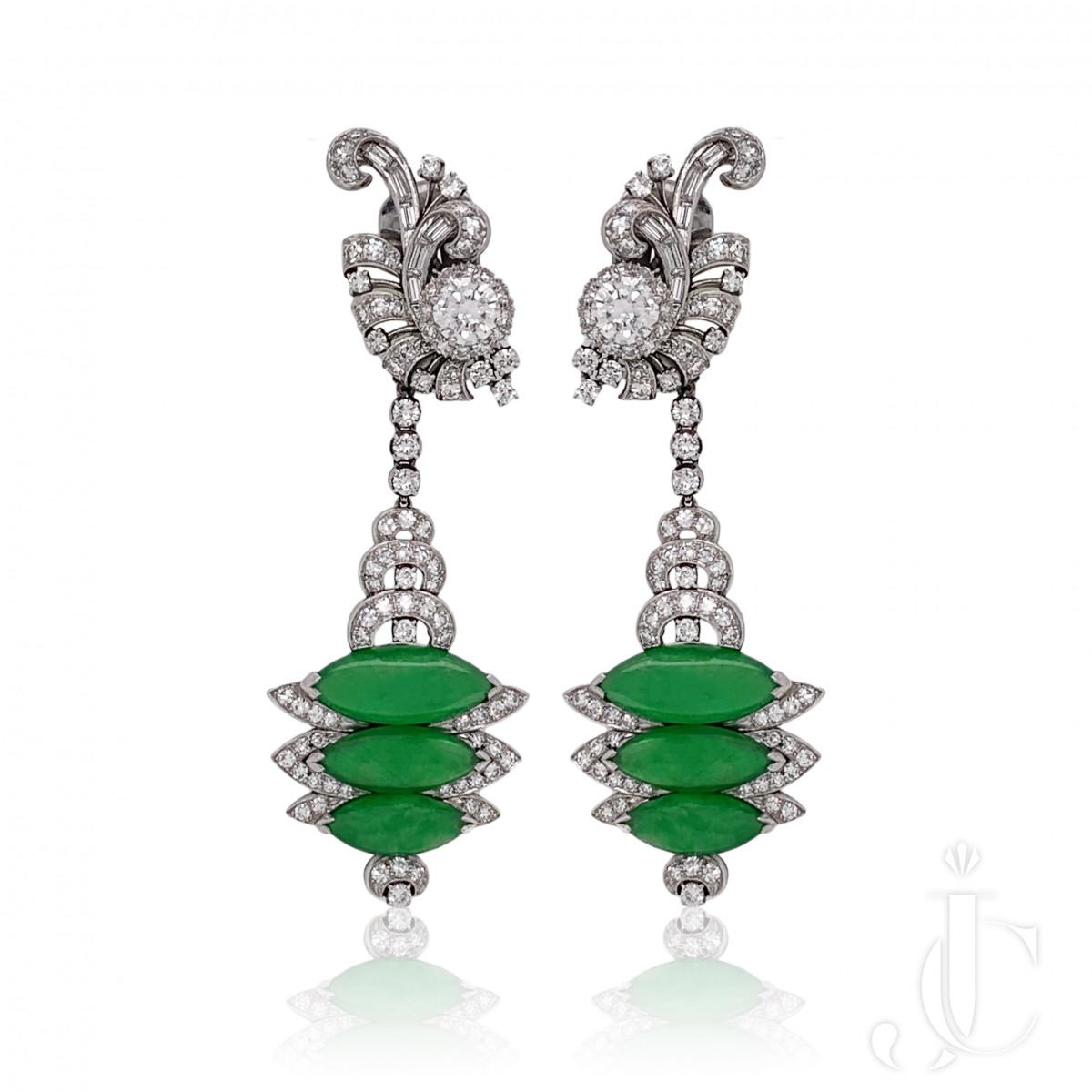 Spectacular Deco Jade Diamond Earrings