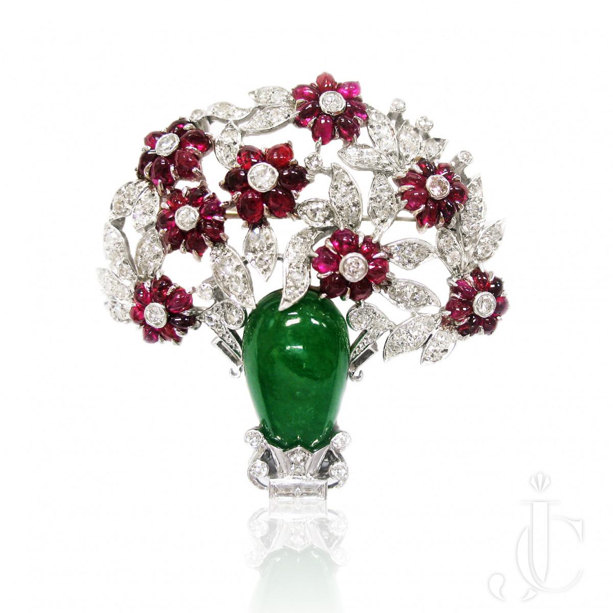 Platinum Jade, Ruby and Diamond Brooch
