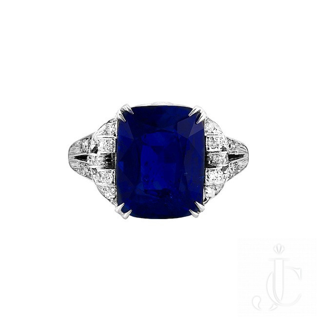 Art Deco Royal Blue 10 Carat Ceylon Heated Sapphire Ring
