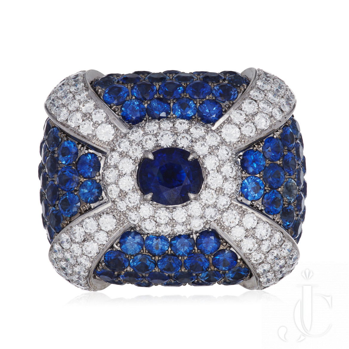 Lev Leviev Gorgeous Sapphire Diamond Ring in 18 KT white gold