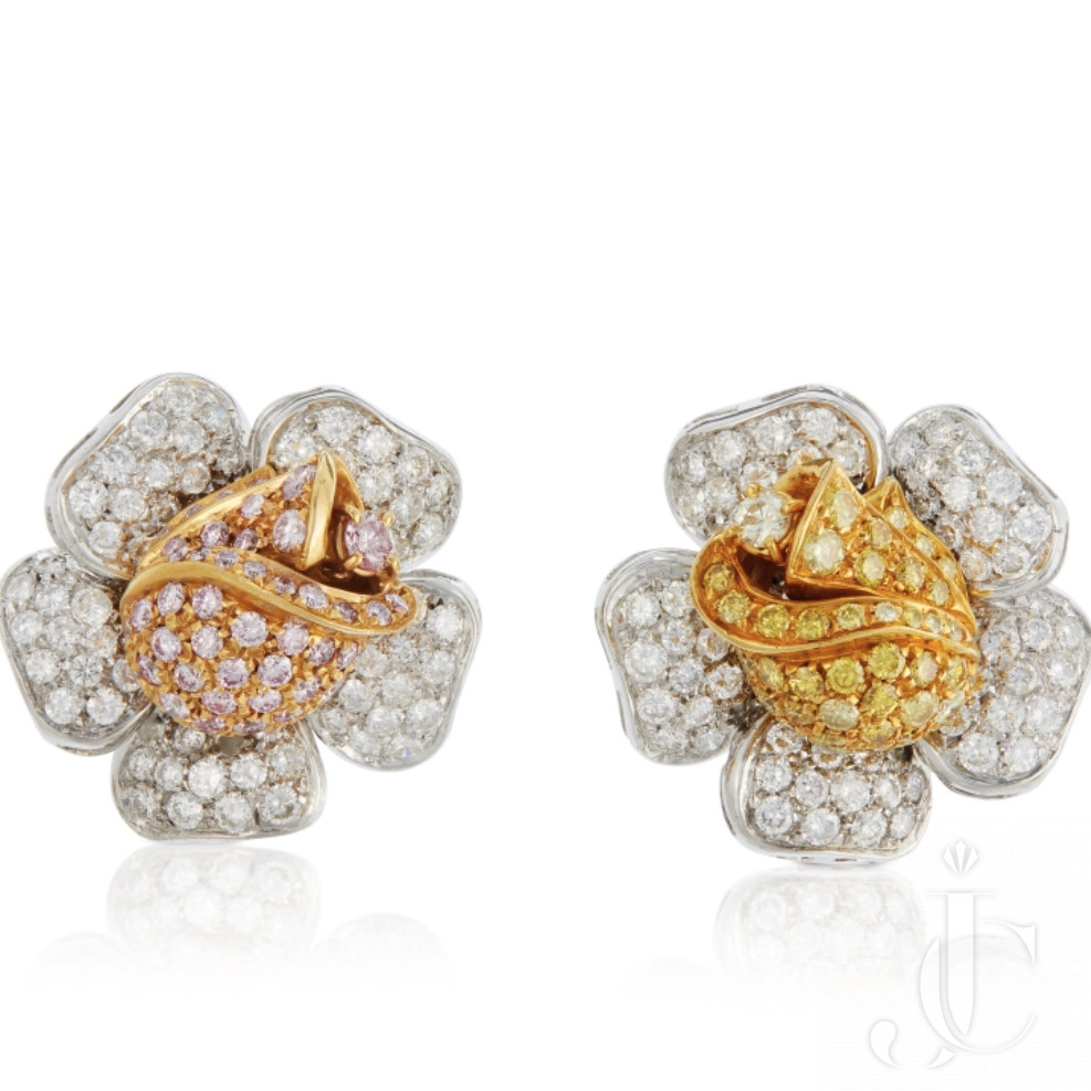 A gorgeous pair of floral motif earrings with Pink, Yellow and White Diamonds set in 18 KT Gold
