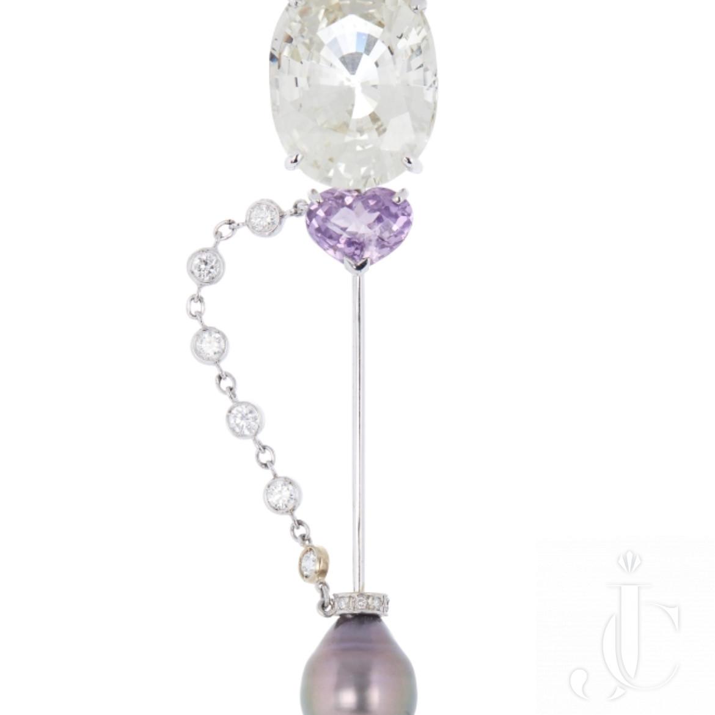 Multi Gem Jabot Brooch with large Yellow sapphire, Pink Salphire, Pearl & Diamond