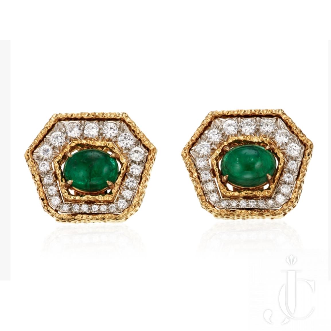 Van cleef and Arpels Emerald, Diamond very Elegant pair of  Earrings