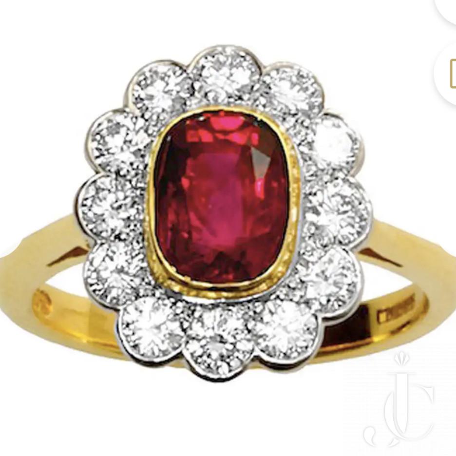Edwardian 1.96 Carat Very Fine Quality Natural Burma No Heat Ruby Diamond Gold Platinum Cluster Ring