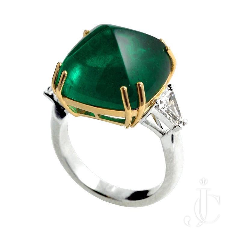 17.53 Carat Zambian Emerald Sugarloaf Diamond Engagement Ring