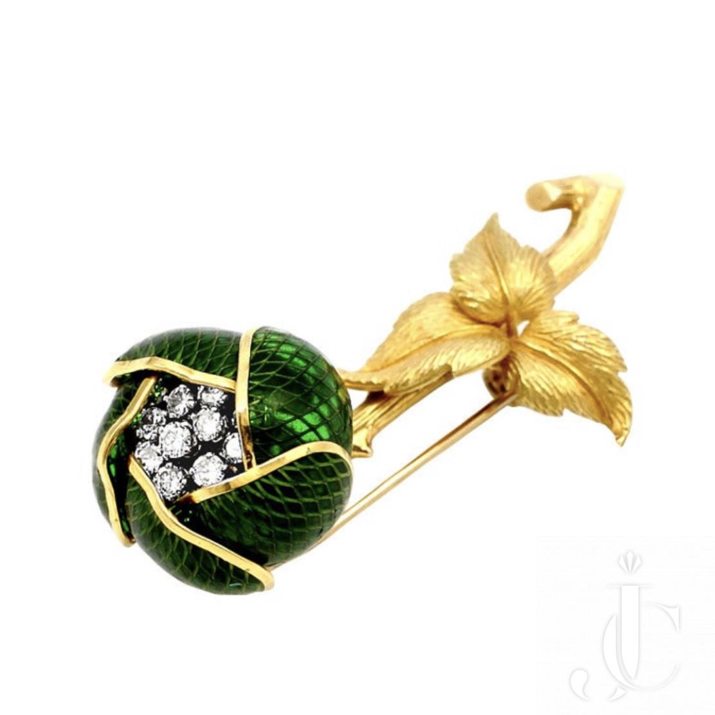 Mechanical Green Enamel And Diamond Flower Pin, French