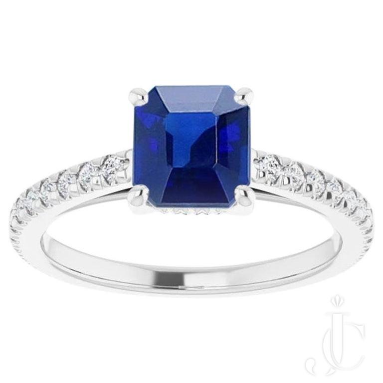 1.05 Carat Natural No Heat Burma Sapphire and Diamond Eternity Engagement Ring