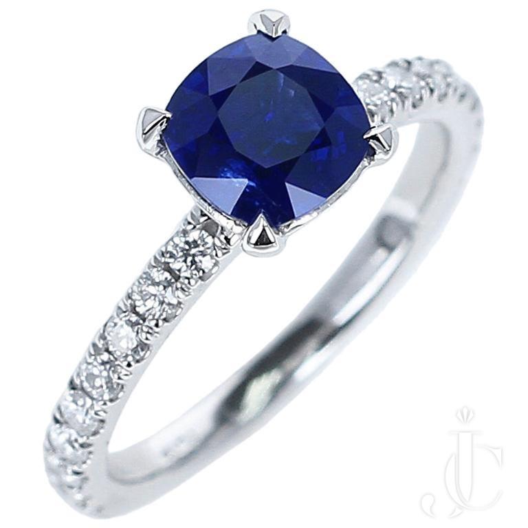 1.46 Carat Certified No-Heat Cushion Shaped Burma Sapphire Engagement Ring