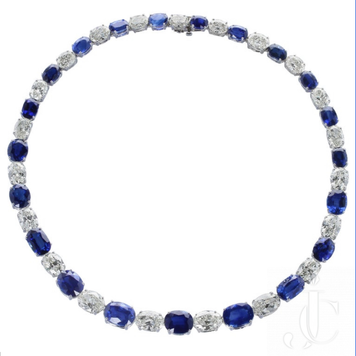GIA Certified Large Oval Sapphire and Diamond Eternity Platinum Necklace