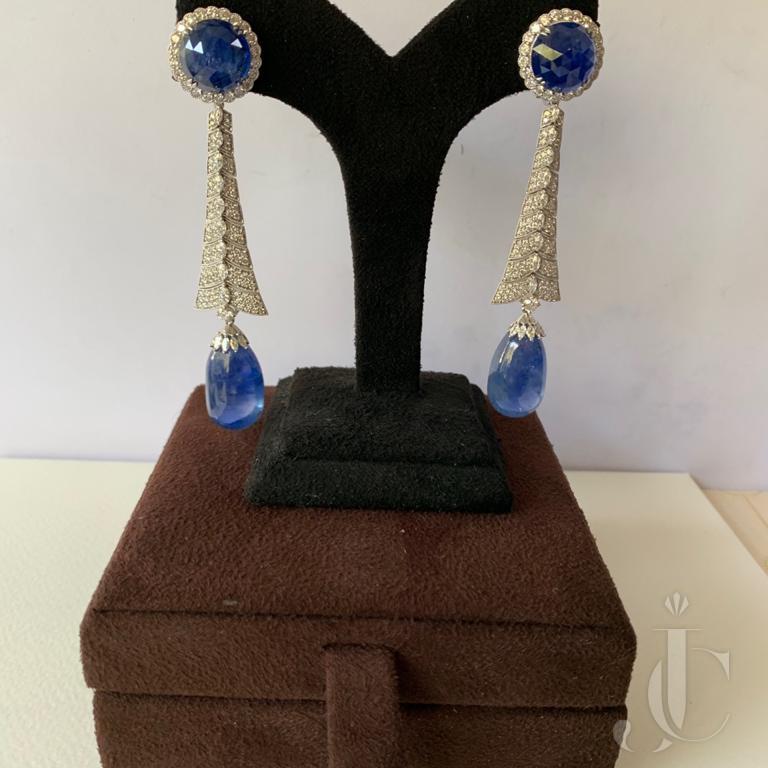 Natural Burma Sapphire Drop & Cabochon with Diamond Long Earring