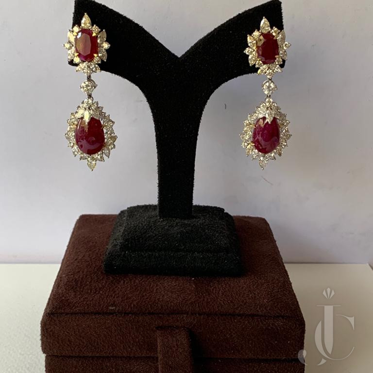 Natural Burma Ruby Drops with Diamond Earring Pair