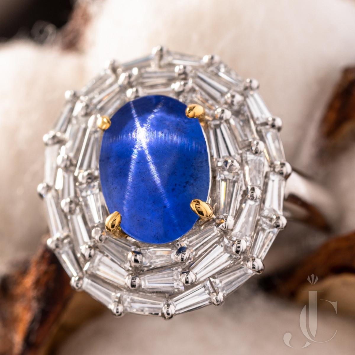 Platinum 3.46 carat star sapphire Diamond ring