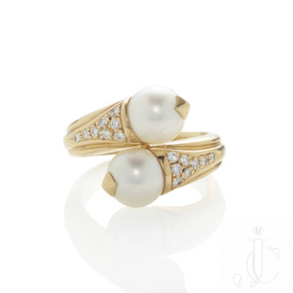 Bulgari. Gold, Cultured Pearl and Diamond Bypass Ring