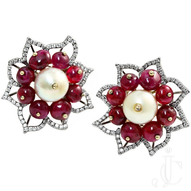 Natural Saltwater Pearl and No Heat Burma Ruby Beads Floral Earrings