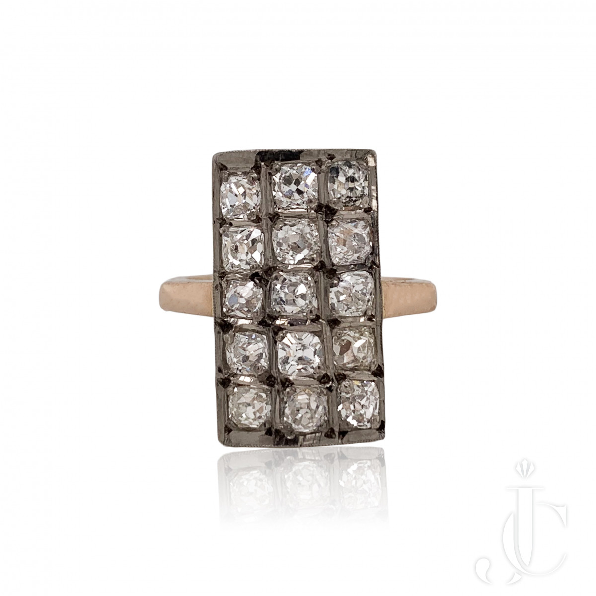Russian Silver/YG Diamond Ring