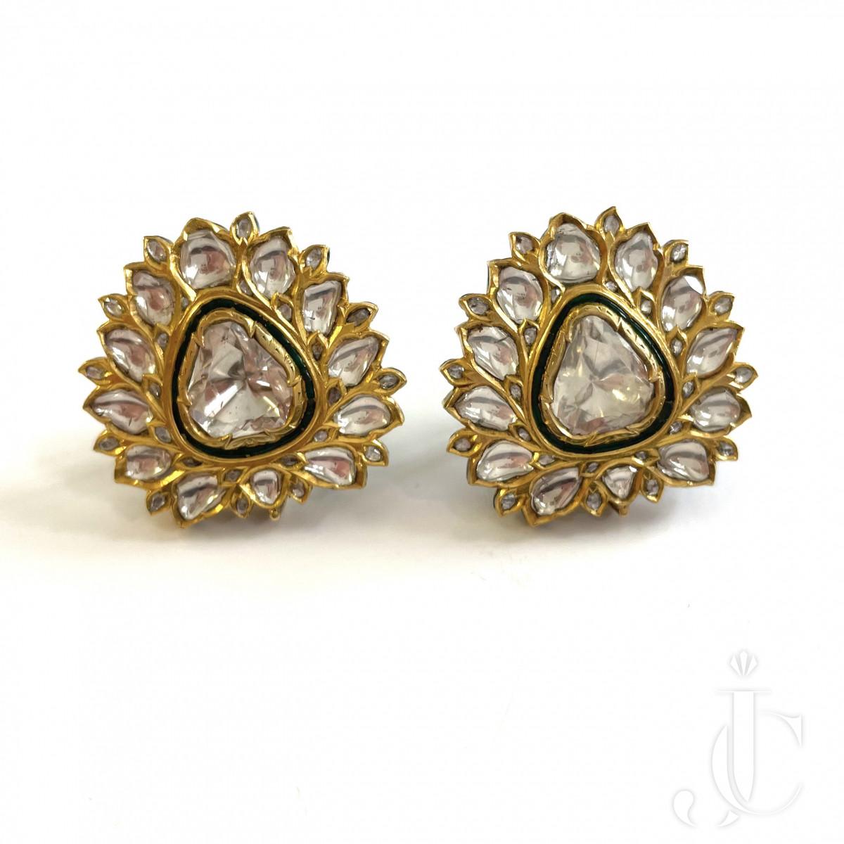 Diamond Enamel Ear Clips