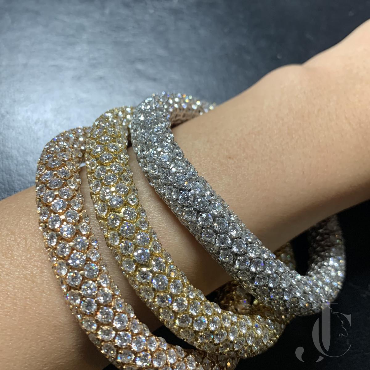 3 Color Gold Diamond Bracelet/Necklace by Faraone Milano