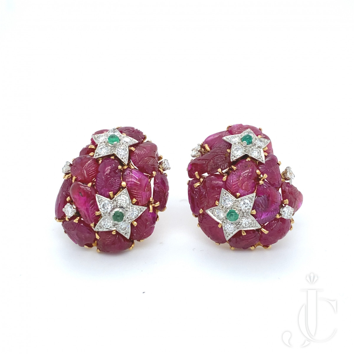 French Carved Ruby Earrings