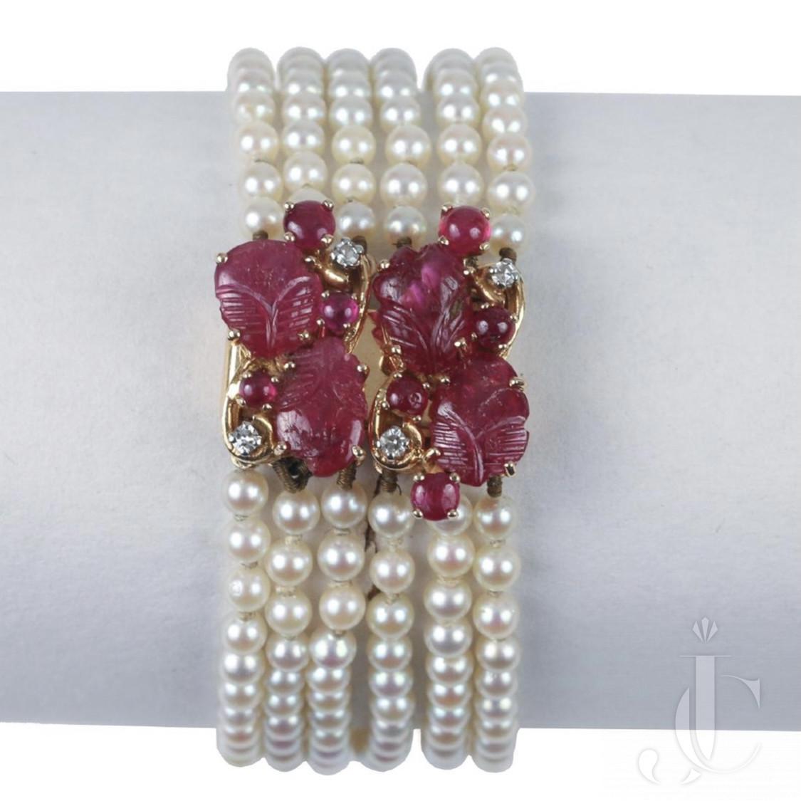 Carved ruby pearl bracelet