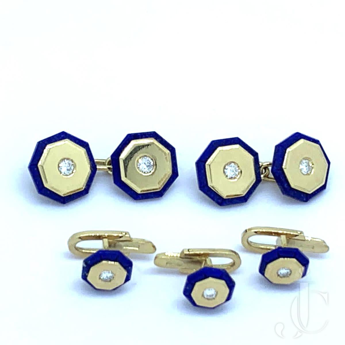 18k Italian gold,lapis and diamond cufflink and studs set. Italian,