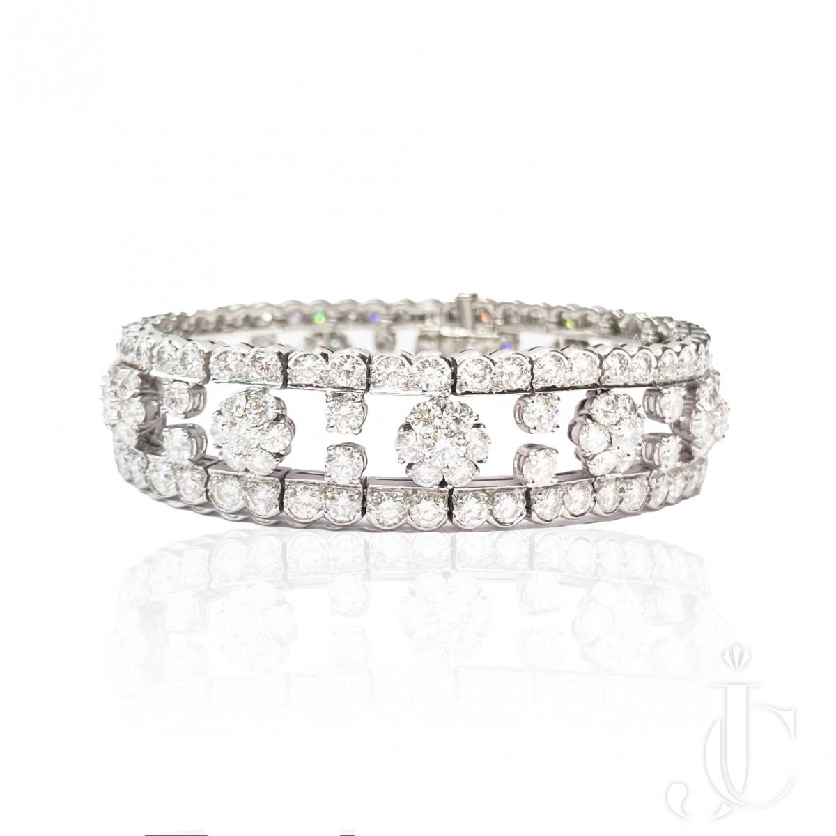 Van Cleef & Arpels Platinum and Diamond Snowflake Bracelet