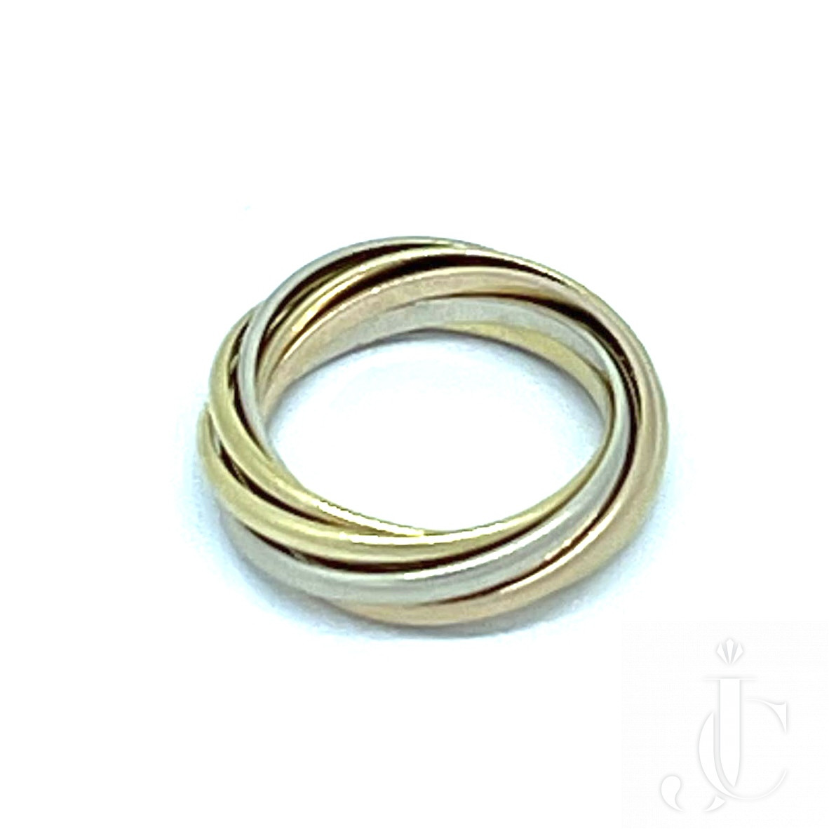 Cartier 7 band Tri color rolling ring. Size 51/2 .