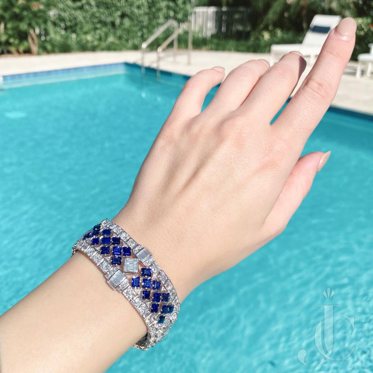 Platinum Sapphire and Diamond Art Deco Bracelet
