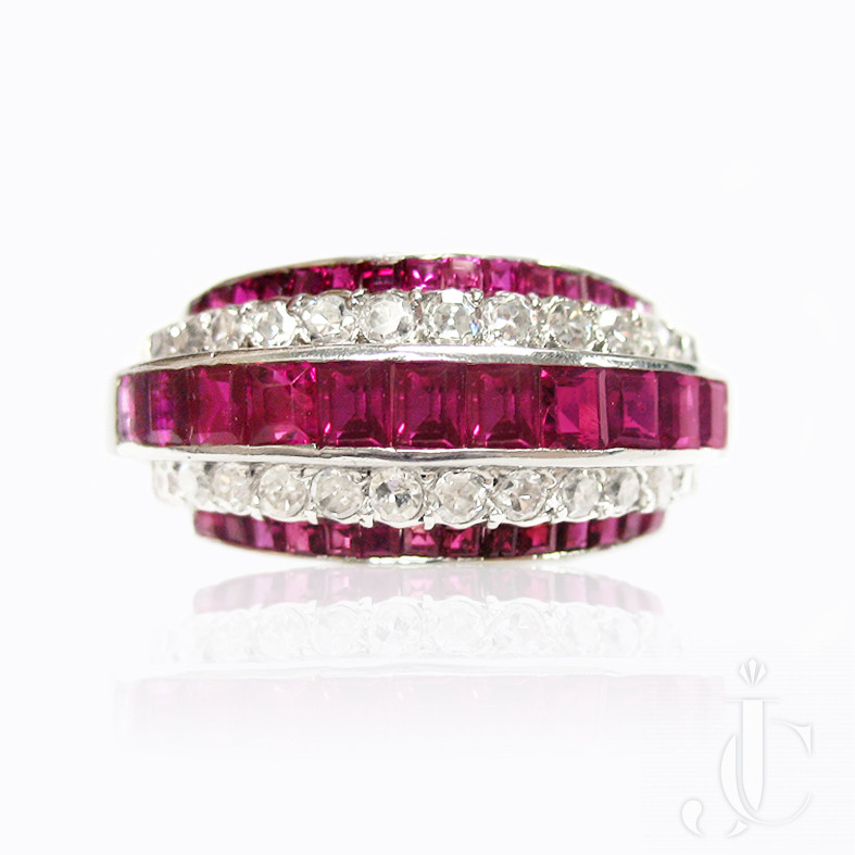 Platinum Ruby and Diamond Band Ring, New York, circa 1955