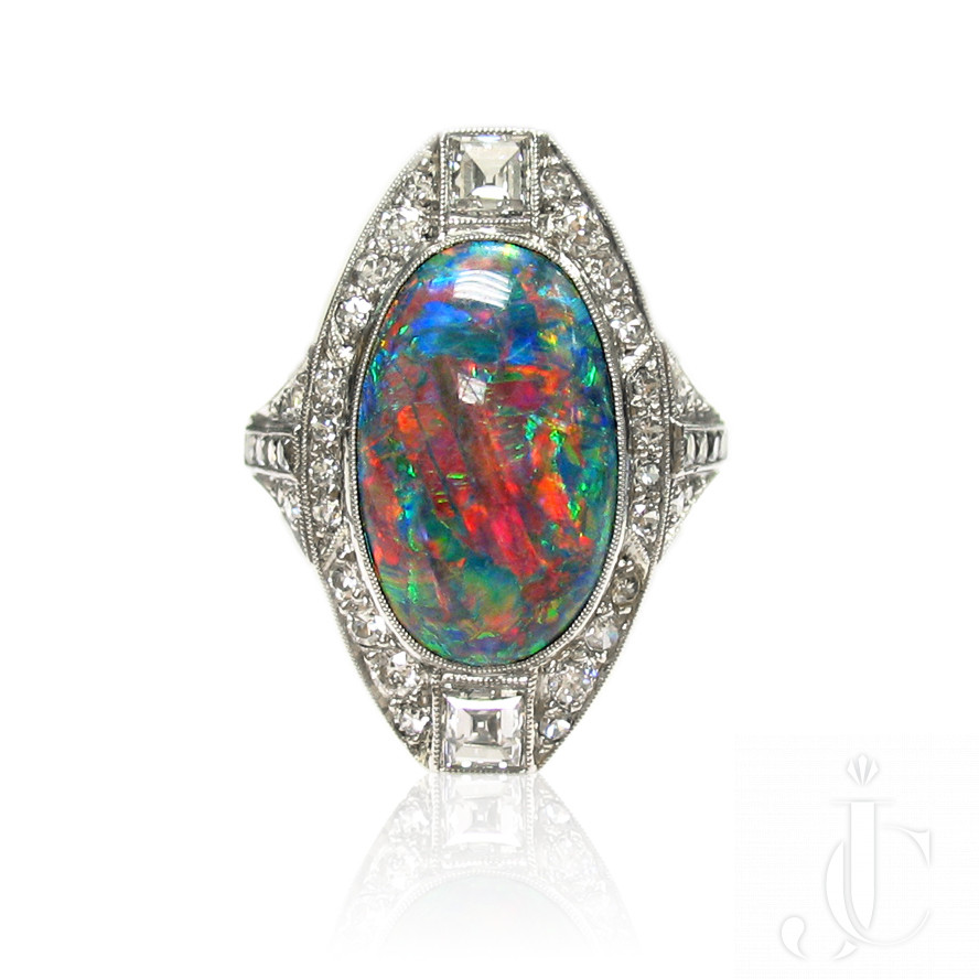 Platinum Art Deco  Opal and Diamonds Ring, circa 1930