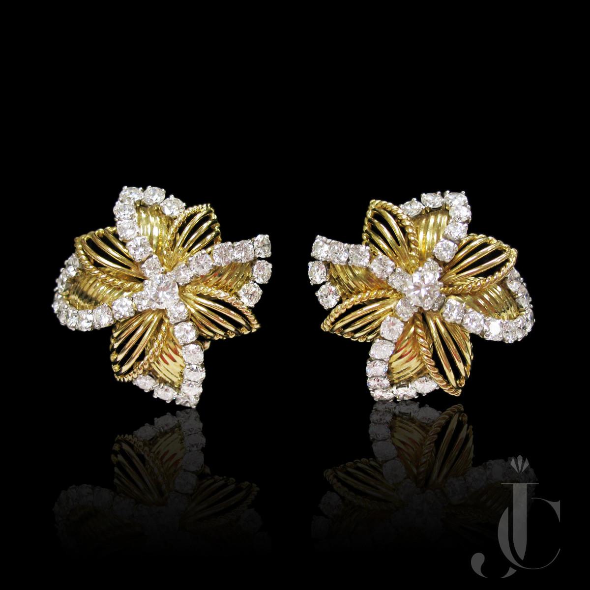 Yellow Gold Diamond Pinwheel Earrings