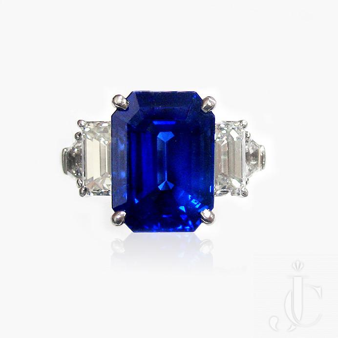 Platinum Sapphire and Diamonds Ring