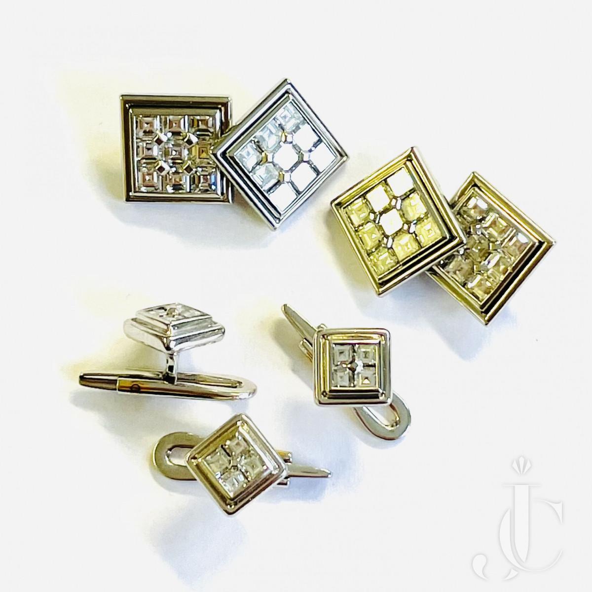 Diamond Cufflinks and Button Set