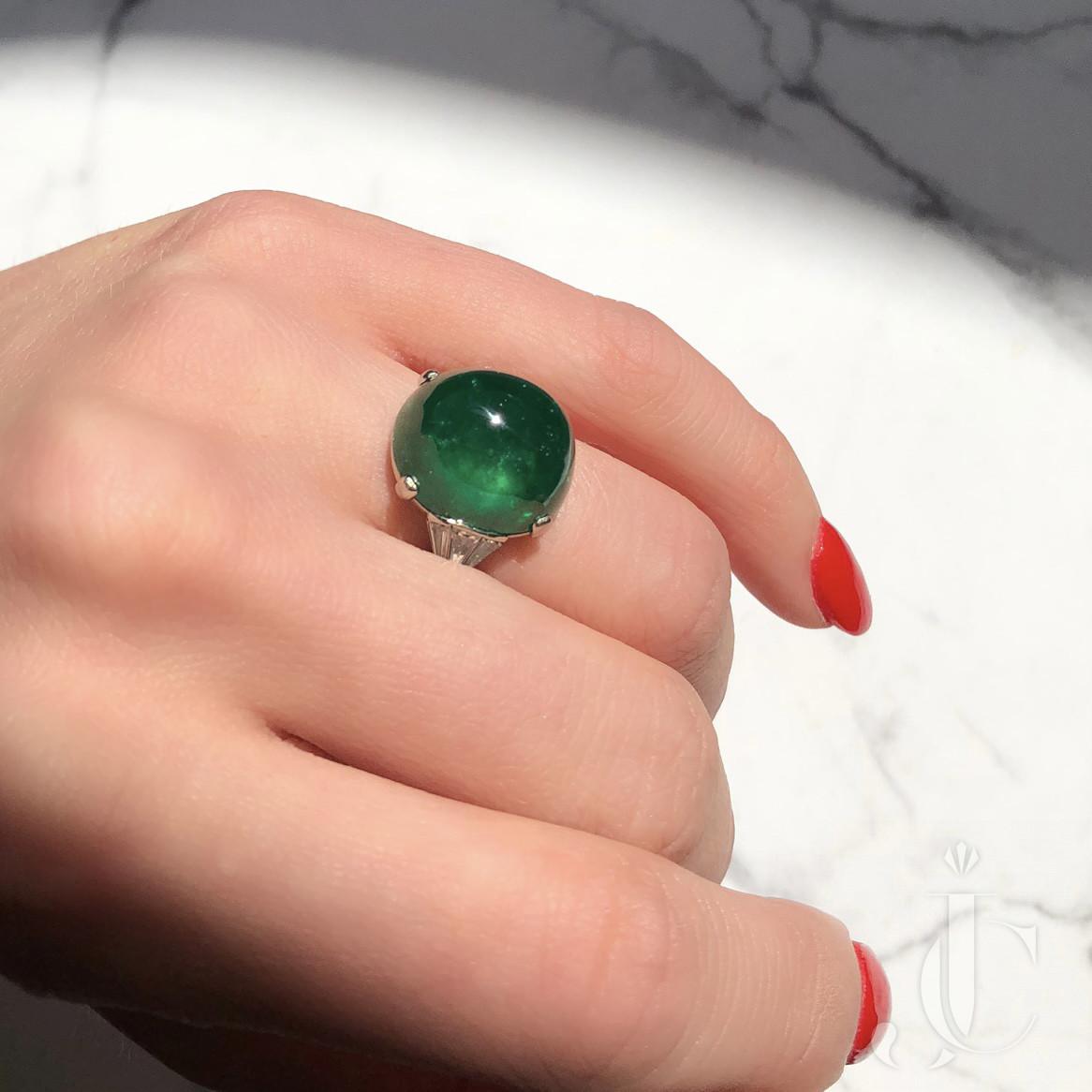 Platinum Cabochon Emerald and Diamond Ring