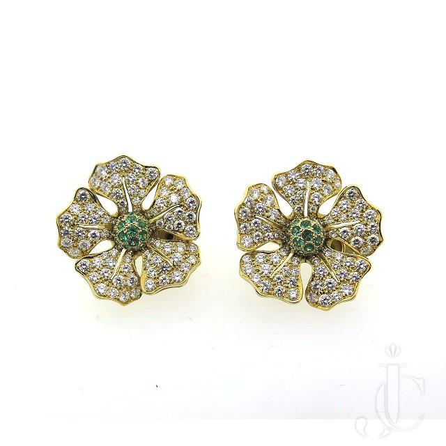 Pair 18kt Emerald Diamond Flower Earrings