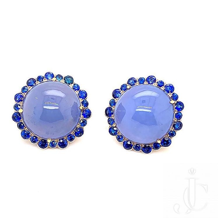 18kt yg Chalcedony Sapphire Earrings